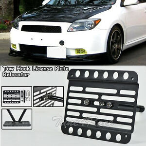 For 05 10 Scion Tc Front Tow Hook License Plate Relocated Mount Bracket Holder