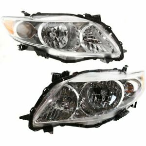 Halogen Headlight Set For 2009 2010 Toyota Corolla W Chrome Interior bulbs Pair