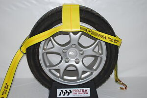 Car Tow Dollie Wheel Net Tie Down Towing Wrecker Supplies Wire Hook Yellow 4 t