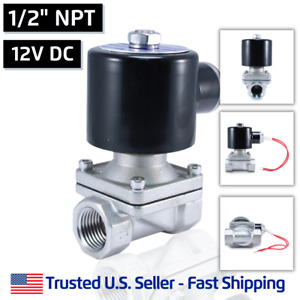 1 2 Npt Ss 12v Dc Stainless Steel Electric Solenoid Valve Water Gas Air 12 Vdc