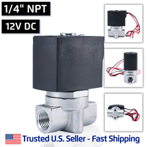 1 4 Ss 12v Dc Stainless Steel Electric Solenoid Valve Water Air Gas 12 Volt Vdc