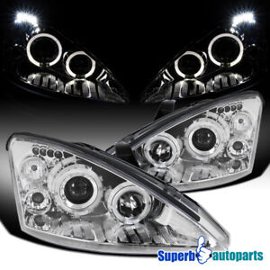 For 2000 2004 Ford Focus Led Dual Halo Rings Projector Headlights Lamps