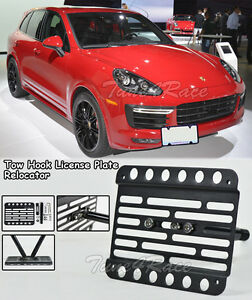 For 15 18 Porsche Cayenne 958 2 Front Tow Hook License Plate Bracket Relocator