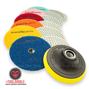 5 Inch Diamond Polishing Pad Set Granite Marble Concrete Stone Tile Wet Dry
