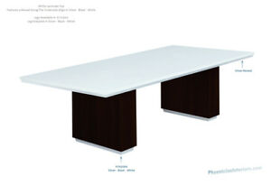 Made In Usa Modern 8 Foot White Conference Table With Colored Legs In 13 Colors