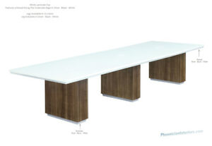 Made In Usa Modern 12 Foot White Conference Table With Colored Legs In 13 Colors