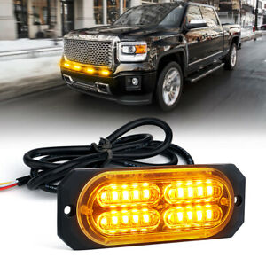 24 Led 12w Rooftop Emergency Hazard Warning Mini Flash Strobe Light Amber Yellow