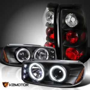 04 06 Gmc Sierra Black Dual Halo Projector Headlights Altezza Tail Lamps