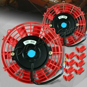 2x 7 Red Electric Slim Push Pull Engine Bay Radiator Cooling Fan Universal 4