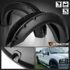 Ford 99 07 F250 F350 Super Duty 4pc Pocket Rivet Style Fender Flares Black