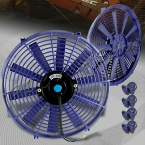 1 X 14 Blue Electric Slim Push Pull Engine Bay Radiator Cooling Fan Universal 1