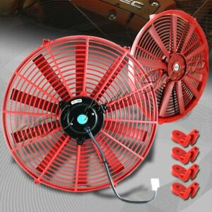 1 X 16 Red Electric Slim Push Pull Engine Bay Cooling Radiator Fan Universal 2