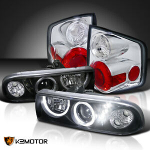 For 1998 2004 Chevy S10 Black Led Halo Projector Headlights Clear Tail Lamps
