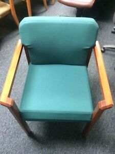 Green Upholstered Guest Chair With Wood Frame Fixed Arms
