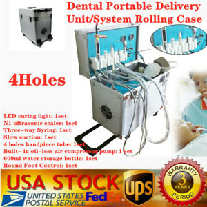 Dental Portable Delivery Unit Rolling Case W Weak Suction Air Compressor scaler