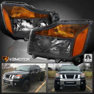 Fit 04 15 Nissan Titan 04 07 Armada Diamond Black Headlights Head Lamps Pair