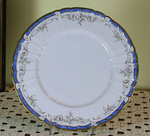 Collector S Cabinet Plate Gold Decoration Blue Border And Gold Rim