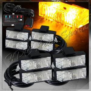 8 Led Amber Truck Emergency Warning Hazard Grill Flash Strobe Light Universal 6