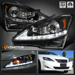 For 2006 2009 Lexus Is250 Is350 Black Led Signal Strip Projector Headlights Pair