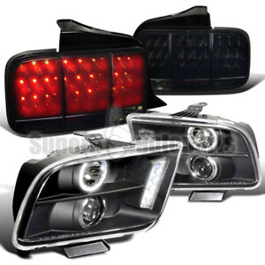 2005 2009 Mustang Halo Pro Headlights sequential Led Tail Lights Glossy Black