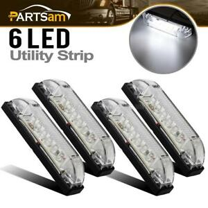 4pcs Utility Strip Light White 4inch Vehicles Decoration 12v 6led Clear Lens
