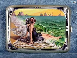 Fine 1900 Antique German Giovanni Guerzoni Style Silver Enamel Cigarette Case