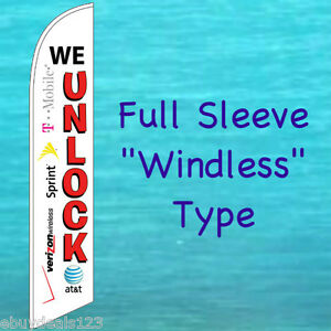 We Unlock Windless Banner Flag Cell Phone Repair Advertising Feather Swooper