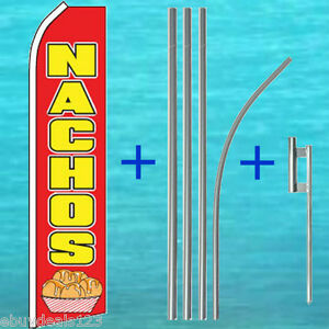 Nachos Flutter Flag 15 Tall Pole Mount Kit Feather Swooper Banner Sign 1193
