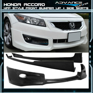 For 08 10 Honda Accord 2door Hfp Style Front Bumper Lip Spoiler Side Skirts Vent