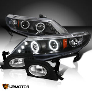 For 06 08 Civic 4dr Black Halo Led Projector Headlights clear Fog Lamps
