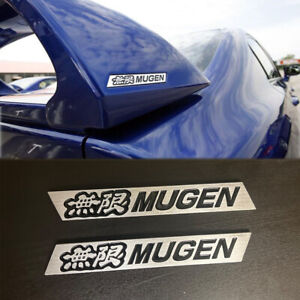 Mugen Black Spoiler Emblem Badge Sticker For Honda Civic Si Trunk 2 Pieces Jdm