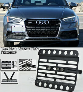For 15 up Audi A3 15 17 S3 Front Tow Hook License Plate Relocator Bracket Sedan