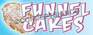 3 x8 Funnel Cakes Banner Outdoor Sign Large Carnival Fair Concession Stand Cake