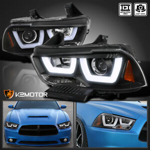 2011 2014 Dodge Charger Black Dual Halo Led Strip Projector Headlights Pair