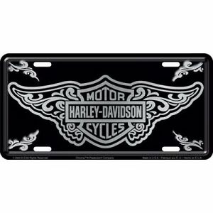 Official Harley Davidson Bar Shield With Filigree Design License Plate