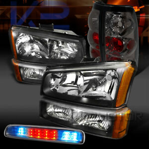 03 06 Silverado Black Head Bumper Lights Smoke Tail Clear Led 3rd Stop Lamps