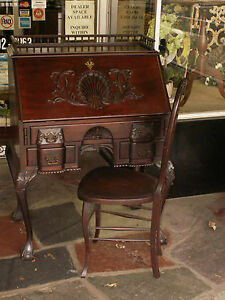 19th C Chippendale Mahogany Block Front Shell Carved Desk W Ball