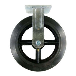 10 X 2 1 2 Heavy Duty rubber On Cast Iron Caster Rigid
