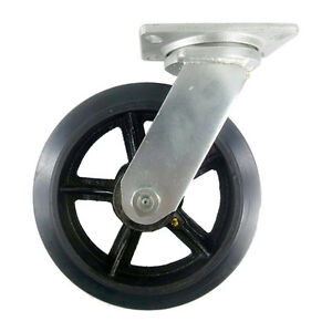10 X 2 1 2 Heavy Duty rubber On Cast Iron Caster Swivel