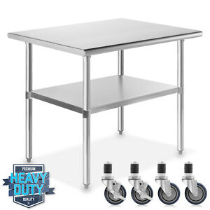 Stainless Steel Commercial Kitchen Work Food Prep Table W 4 Casters 24 X 36