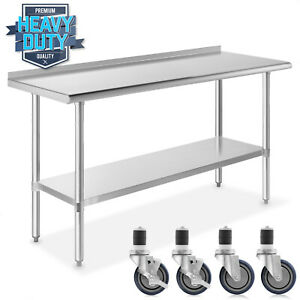 Stainless Kitchen Restaurant Prep Table W Backsplash And 4 Casters 24 X 60