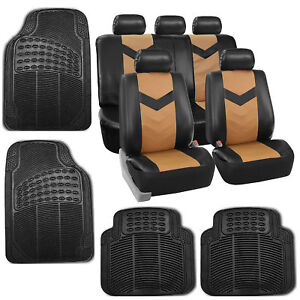 Tan Black Pu Faux Leather Car Seat Cover Set Headrests Floor Mat Set