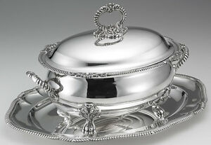 Paul Storr Soup Tureen Cover Gadroon Shell Plateau With Gadroon Border