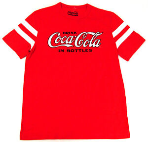 Drink COCA-COLA T-shirt Vintage COKE Licensed Stripe Tee Adult S M L XL 2XL New
