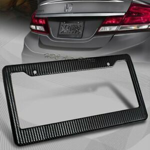 1 X Jdm Black Carbon Fiber Look License Plate Frame Cover Front Or Rear Us Size