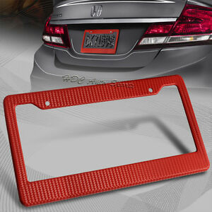 1 X Jdm Red Carbon Fiber Look License Plate Frame Cover Front Rear Universal 2