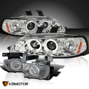 Fit 1992 1995 Civic 4dr Crystal Clear Led Halo Projector Headlights Fog Lamps