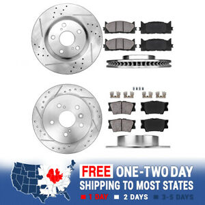 Front rear Drill Slot Brake Rotors ceramic Pads Lexus Es350 Toyota Avalon Camry