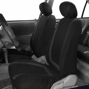 Front Car Seat Covers Black Set For Auto W Head Rests Two Bucket Seat Covers