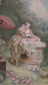 Antique 19c French Hand Painted Courting Scene Hanging Tapestry Signed Rare